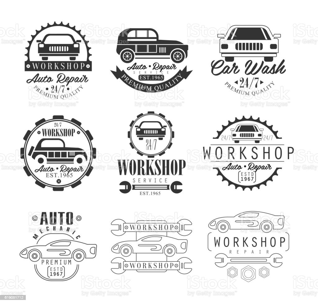 Car Repair Workshop Classic Style Vector Monochrome Graphic Design
