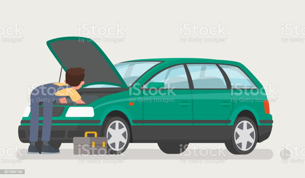 Car repairs. Auto mechanic opened the hood and repaired the car. Vector illustration - Royalty-free Adult stock vector