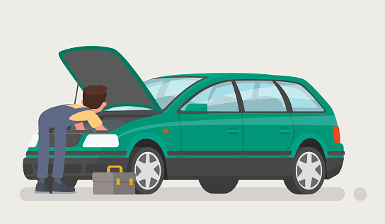 Car Repairs Auto Mechanic Opened The Hood And Repaired The Car Vector Illustration Stock Illustration - Download Image Now
