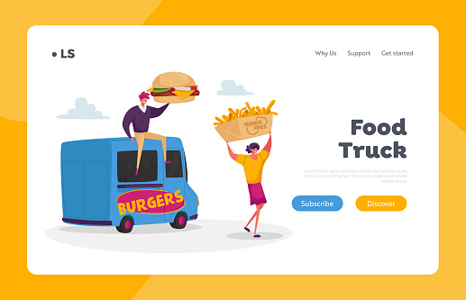 Car Restaurant Wagon, Transport on Wheels Landing Page Template. People Buy Street Food, Junk Meals from Food Truck