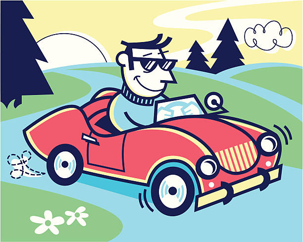 car ride - peter bajohr stock illustrations, clip art, cartoons, & icons