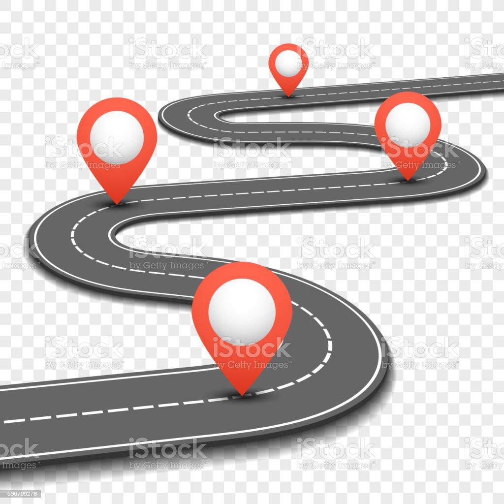 Car road, street, highway business roadmap infographics design vector template vector art illustration