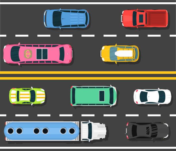ilustrações de stock, clip art, desenhos animados e ícones de car road topview vector illustration. choosing the best car for - driveway, no people