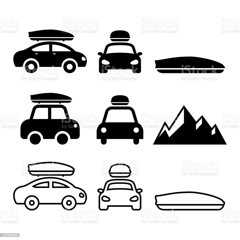 Car Roof Box, Roof Rack Or Carrier Vector Icons Set Royalty Free Stock  Vector