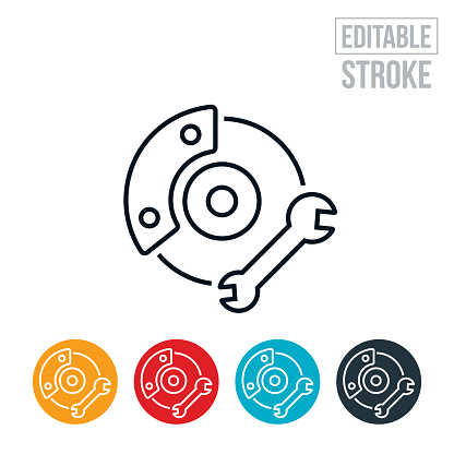An icon of a wheel rotor and brakes. The icon includes editable strokes or outlines using the EPS vector file.