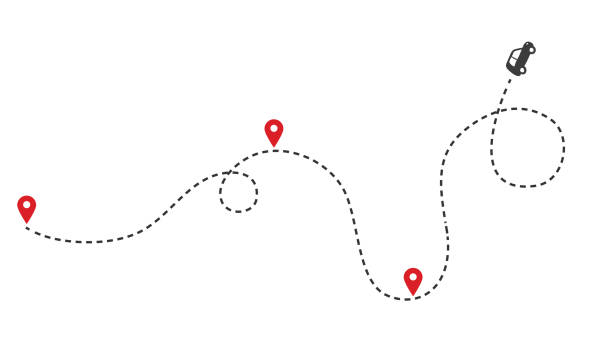 ilustrações de stock, clip art, desenhos animados e ícones de car route monochrome concept with automobile path and map pointers. isolated vector - trilho