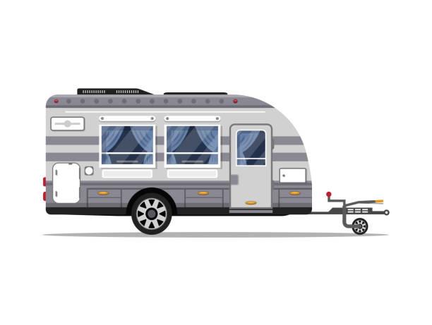 stockillustraties, clipart, cartoons en iconen met auto rv aanhangwagen geïsoleerde vector pictogram - caravan