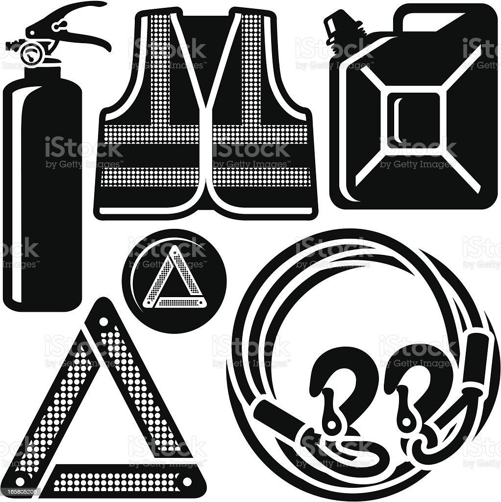 Auto Sicherheit Jacke, Feuerlöscher, ABSCHLEPPEN Seil und vieles mehr – Vektorgrafik