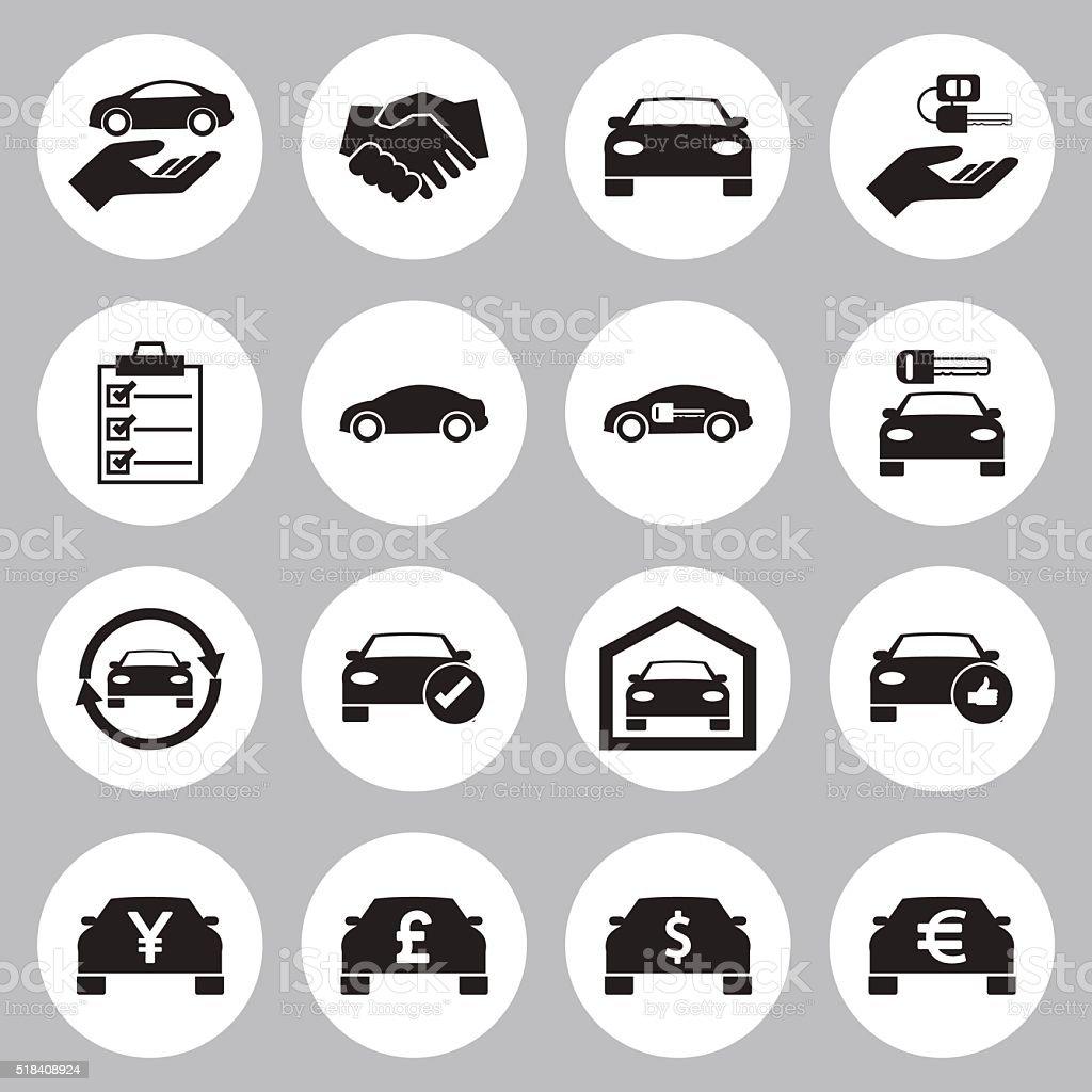 Car Sale and rental car icons set vector art illustration