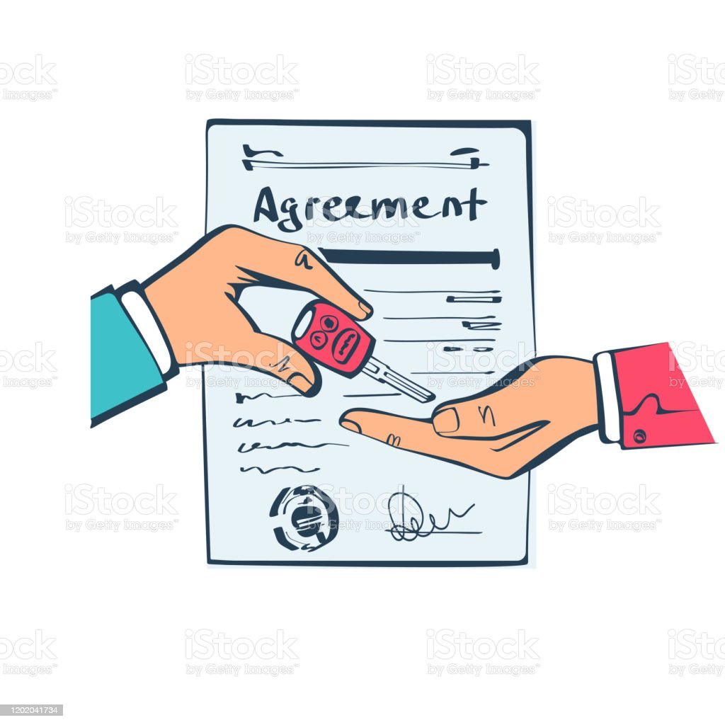Car Sale Hand Buyer And Seller Handing The Keys To Car On Background Document The Contract Form Stock Illustration Download Image Now Istock