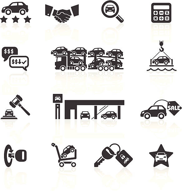 Car Sales & Auto Dealership Icons Car Sales & Auto Dealership Icons. Layered & grouped for ease of use. Download includes EPS 8, EPS 10 and high resolution JPEG & PNG files. car salesperson stock illustrations
