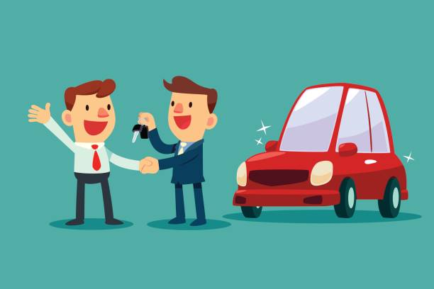 car salesman give a handshake and new car key to businessman Car salesman give a handshake and new car key to businessman. Car sale. Auto business concept. lease agreement stock illustrations