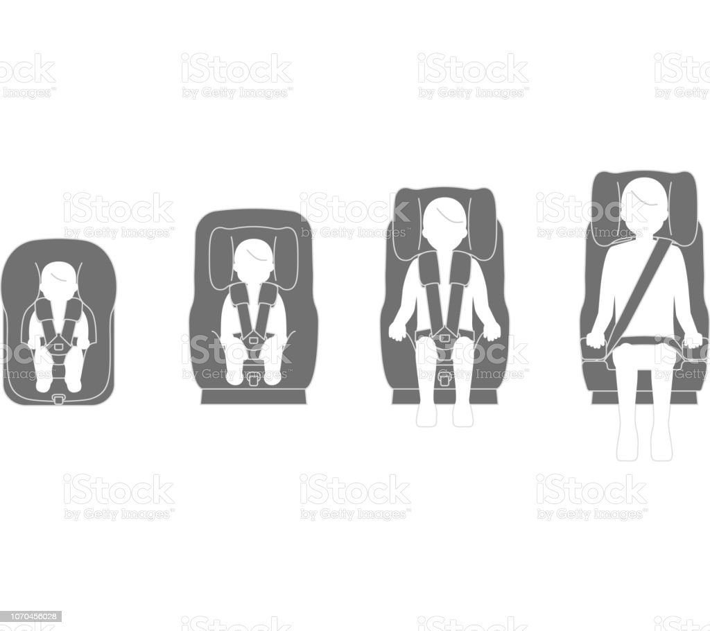 Car seat according to child growth vector art illustration