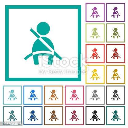Car seat belt warning indicator flat color icons with quadrant frames on white background