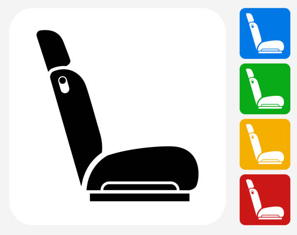 car seat-symbol flache grafik design - fahrzeugsitz stock-grafiken, -clipart, -cartoons und -symbole