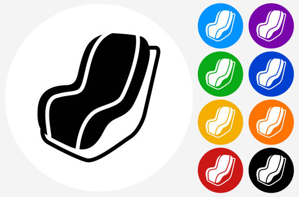 Car Seat Icon On Flat Color Circle Buttons Vector Art Illustration
