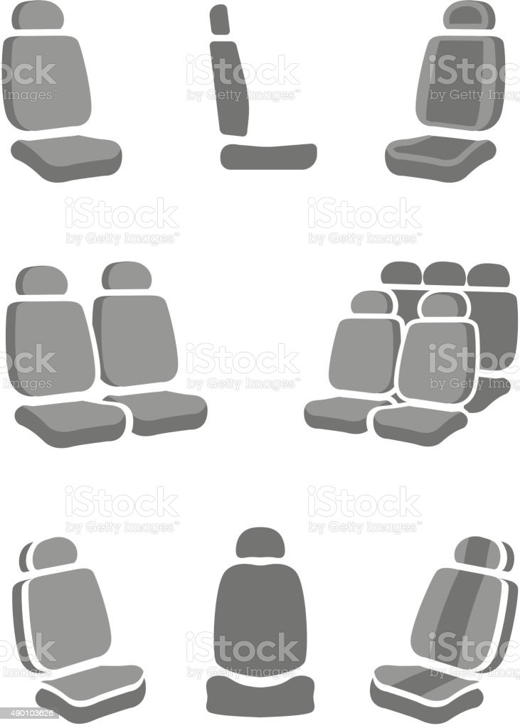 Car Seat icons vector art illustration