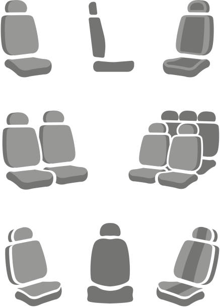 car seat symbole - fahrzeugsitz stock-grafiken, -clipart, -cartoons und -symbole