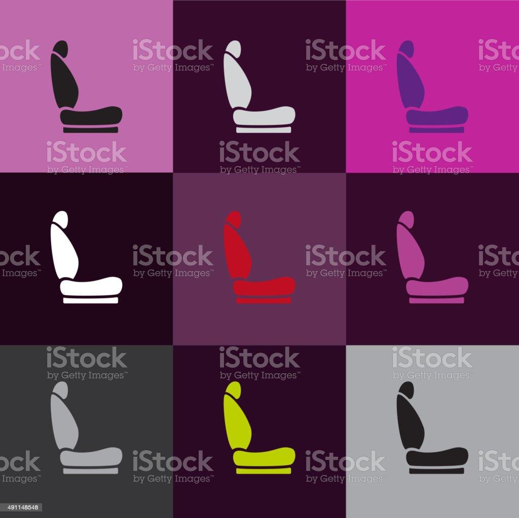 Car seat icons vector art illustration