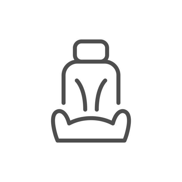 ilustraciones, imágenes clip art, dibujos animados e iconos de stock de icono de la línea de asiento de coche - comfortable