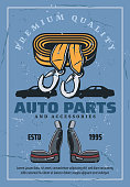 Car seats and towing rope. Spare parts store
