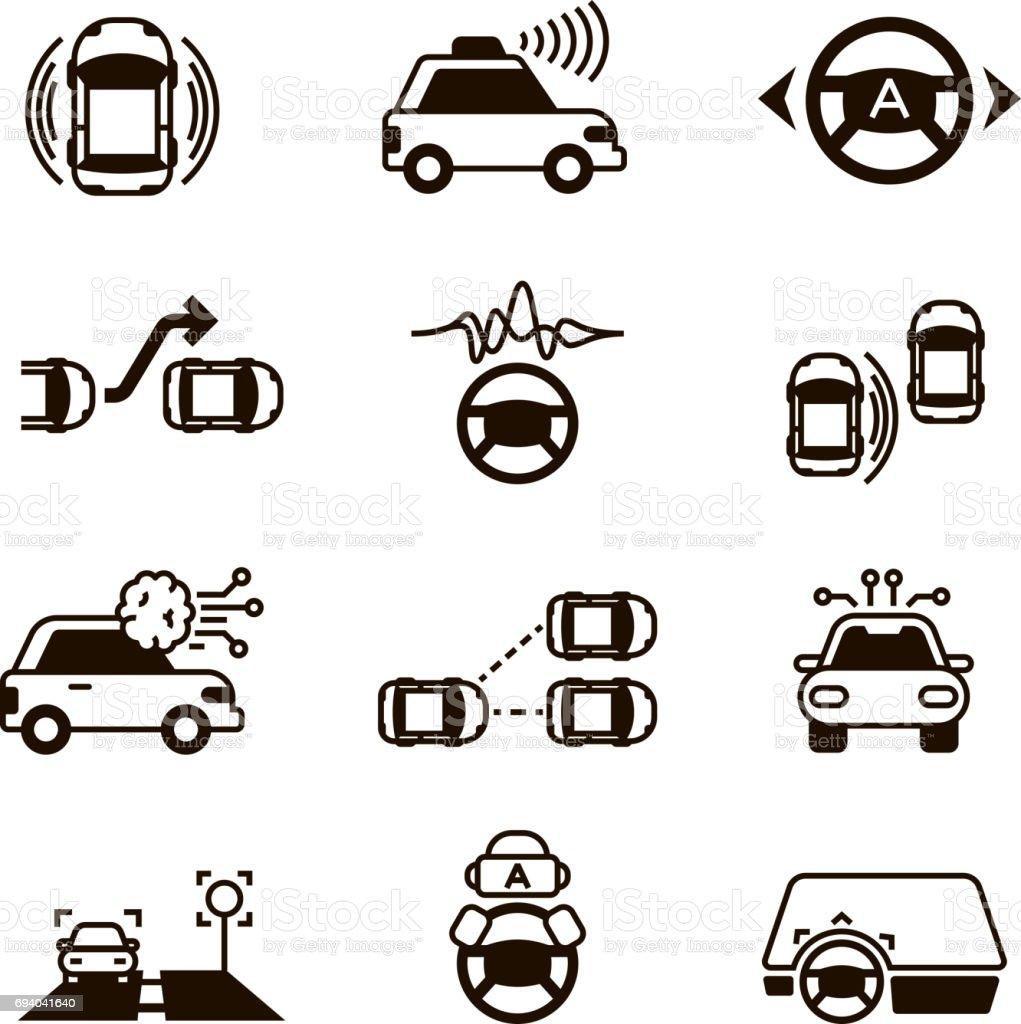 Ilustración de Coche Que Auto Control Sistemas De Vehículos ...
