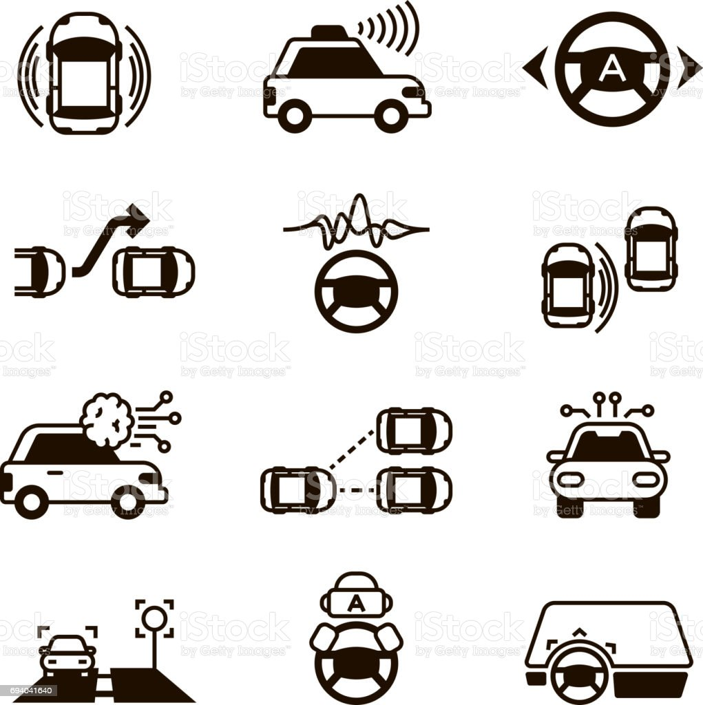 Car self control, futuristic driving intelligent vehicle systems vector icons vector art illustration