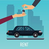 Car seller hand giving key to buyer. Selling, leasing or renting car service. Flat design modern vector illustration concept.