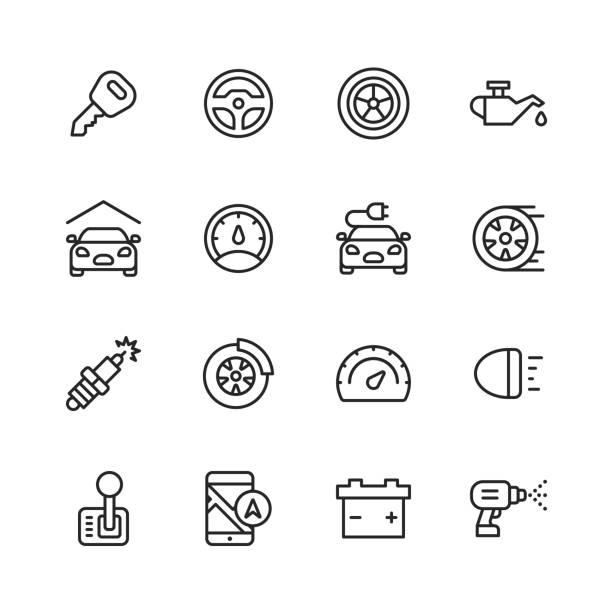 illustrazioni stock, clip art, cartoni animati e icone di tendenza di icone della linea di assistenza auto e autofficine. tratto modificabile. pixel perfetto. per dispositivi mobili e web. contiene icone come incidente d'auto, meccanico, volante, pneumatico, ruota, olio auto, garage, tachimetro, specchio auto, navigazione, b - auto