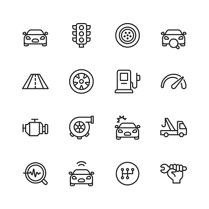 Car Service and Auto Repair Shop Line Icons. Editable Stroke. Pixel Perfect. For Mobile and Web. Contains such icons as Car Accident, Mechanic, Car, Traffic Light, Tire, Road, Gas Station, Car Accident, Towing, Car Gears, Gearbox, Repair Key.