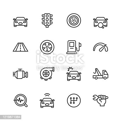 16 Car Service and Auto Repair Shop Outline Icons.
