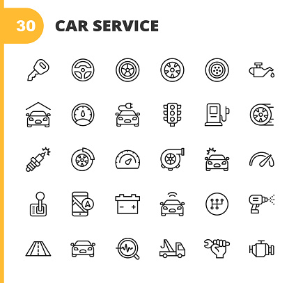 Car Service and Auto Repair Shop Line Icons. Editable Stroke. Pixel Perfect. For Mobile and Web. Contains such icons as Car Accident, Mechanic, Steering Wheel, Tire, Wheel, Car Oil, Garage, Speedometer, Car Mirror, Navigation, Battery.