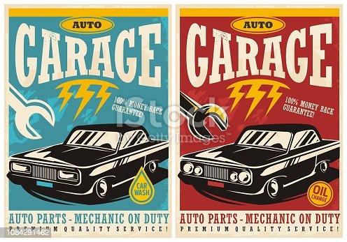 Car service and garage retro posters collection. Vintage transportation flyer designs set.
