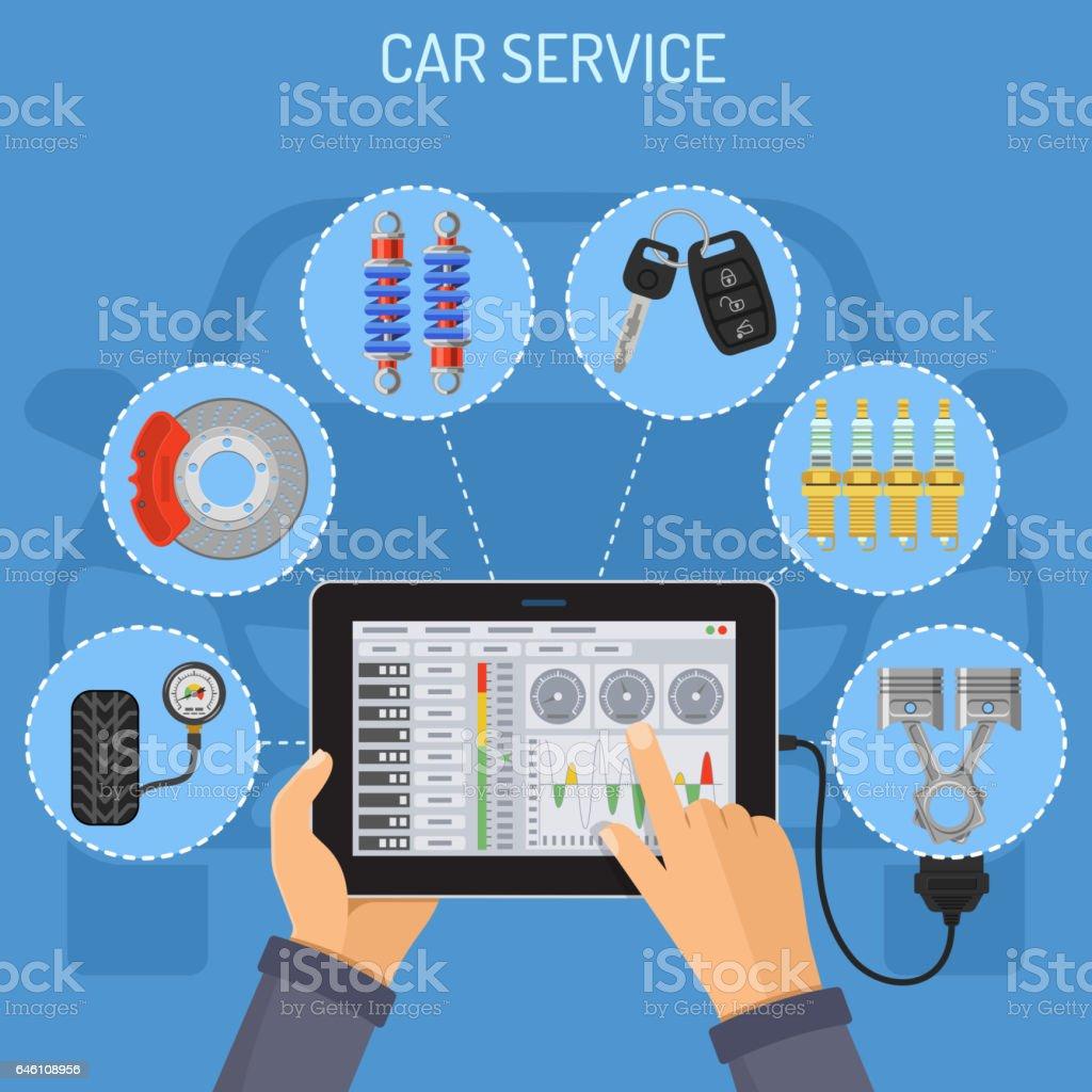 Car Service and Maintenance Concept vector art illustration