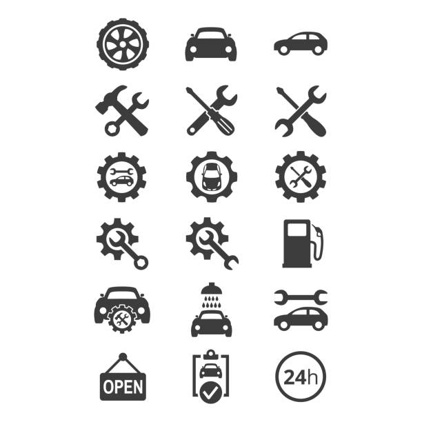 car service and repair icons set on white background. - tools stock illustrations
