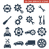 Car service and repair icons set on white background. Vector illustration