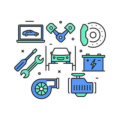 Car Service and Repair Shop Concept, Modern Line Art Icons Background. Linear Style Vector Illustration.