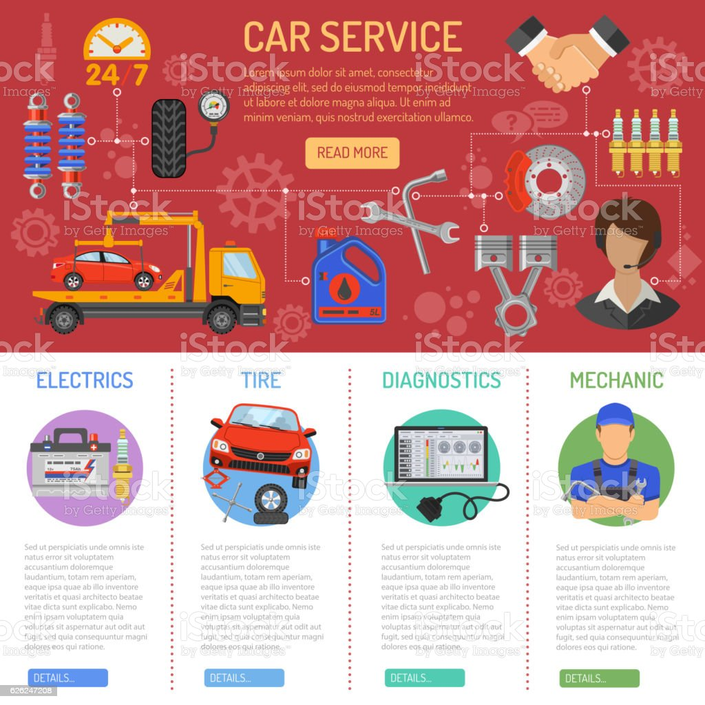 Car Service and Roadside Assistance Infographics vector art illustration