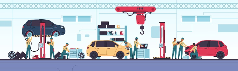 Car service. Auto repair scenes with workers and equipment. Vehicle diagnostics and mechanic workshop. Replace spares parts, tuning and oil change. Vector automobile center concept