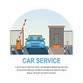 Car service. Automatic Rising Up Barrier, automatic system gate for security