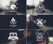 Car service badges and logo in urban style on blurred backgrounds
