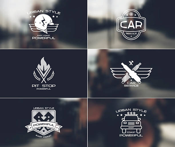 Car service badges and logo on blurred backgrounds vector art illustration