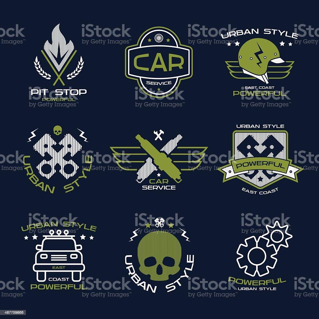 Car service badges and logo vector art illustration