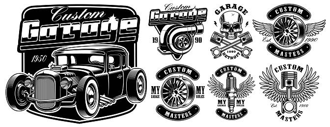 Car service badges.