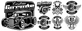 Vintage black and white logos, badges, shirt prints of car service.