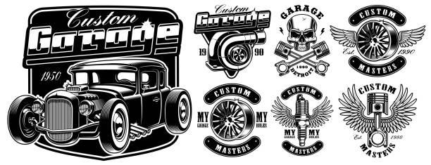 ilustrações, clipart, desenhos animados e ícones de distintivos de serviço de carro. - garage