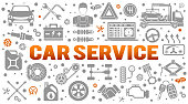 Car service horizontal banner. diagnostics, car repair, assistance, tire service for poster, web site, advertising. Flat icons like mechanic, tow truck, spark plug. isolated vector illustration
