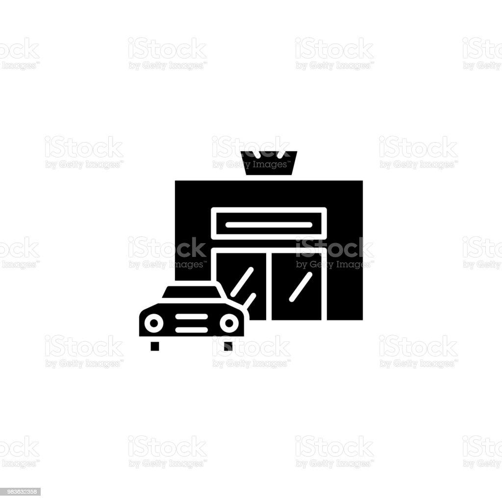 car service black icon concept car service flat vector symbol sign