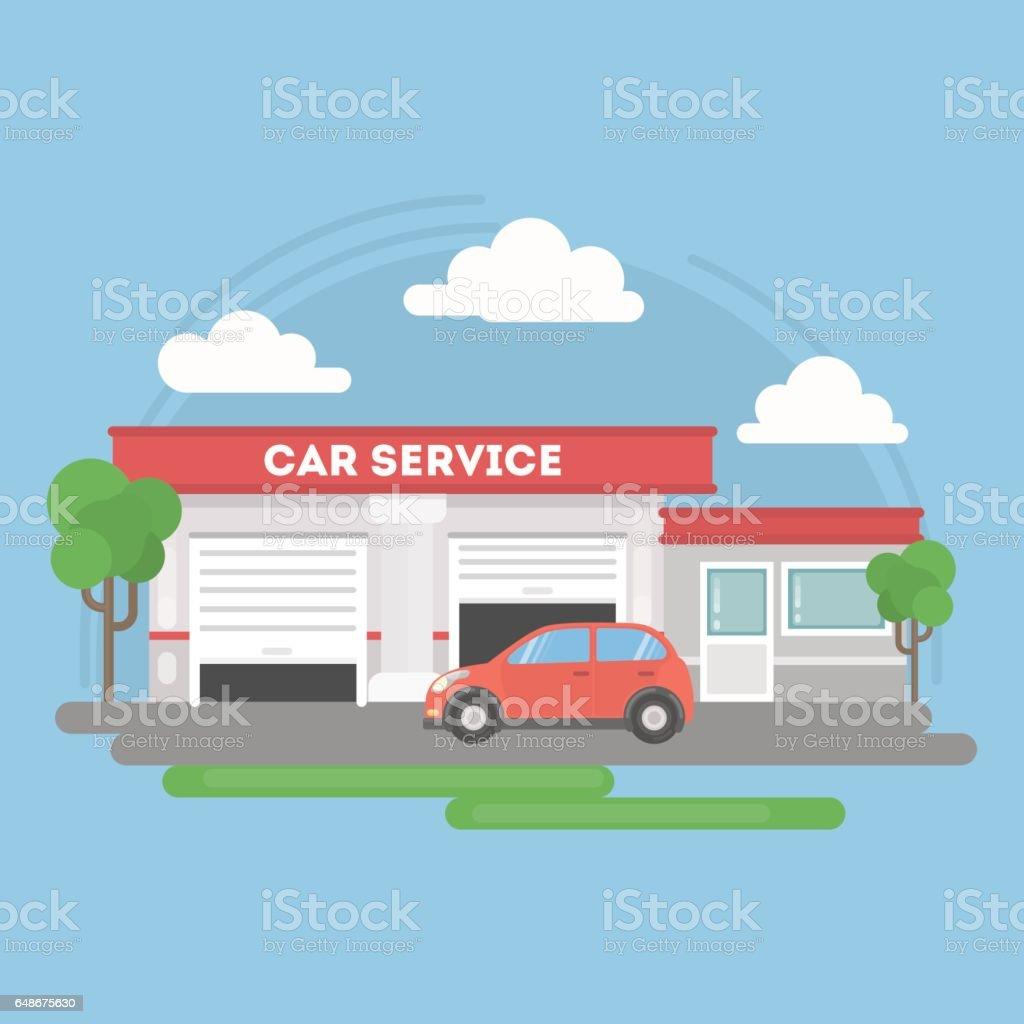 Auto-Service-Gebäude. – Vektorgrafik