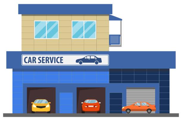 ilustrações, clipart, desenhos animados e ícones de serviço de carro. serviço de carro com carros sob o reparo. ilustração dos desenhos animados de um reparo do carro. - garage